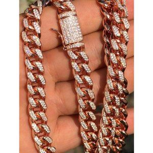 HarlemBling 14k Gold Solid 925 Silver 10mm Chain